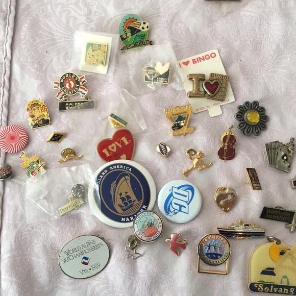 32 vintage enamel pins badges